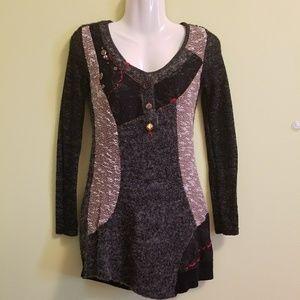 FORLA PARIS Embellished Sweater Dress Tunic Sz S